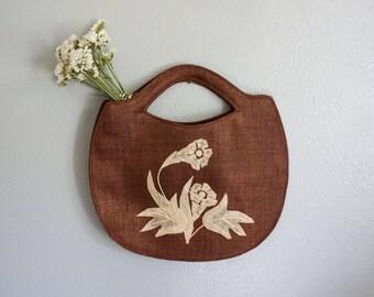 vintage Abaca woven bag | vintage market bag | vintage woven clutch