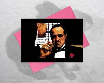 Funny Godfather card, Funny Birthday Card, Inappropriate Birthday Cards, Funny Greetings Card, The Godfather, Marlon Brando, Toilet Card