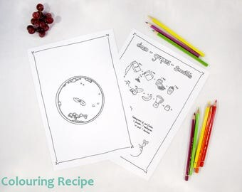Coloring eBook for Children - digital download - Colouring pages for Kids - vegan recipes - chocolate grapes smoothie - fairy Trixilie