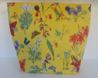 Snap Lock Small Project Bag 'Yellow Butterflies and Flowers'
