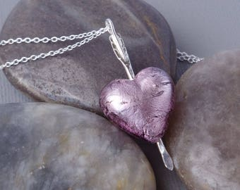 Light Amethyst Murano Heart Valentines Gift Necklace Pierced With Sterling Silver Arrow Hammered by Hand Unique OOAK Pendant With Chain