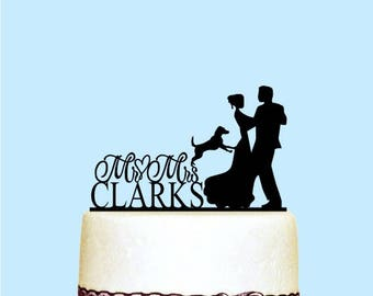 Wedding Cake Topper with Dog - Custom Last Name - Cake Topper for Wedding - Mr and Mrs - Dancing Couple - Rustic Wedding Cake Toppers