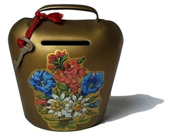 1960s Swiss Cowbell/Cattle Bell Money Box /Safe Box Brass Metal with Original Key and Alpine Flowers / Boulevard Vintage