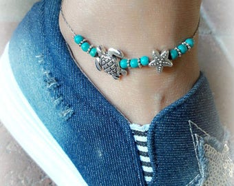 Turquoise Anklet Bracelet, Beach Beaded Anklet, Starfish Anklet, Bohemian Silver Anklet, Sea Turtle Anklet, Summer Jewelry, Nautical Anklet
