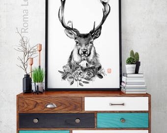 deer watercolor painting antlers original drawing modern wall art poster home decor living room hipster interior illustration nature artwork
