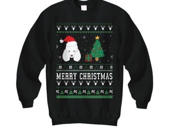 Merry Christmas Poodle, Poodle Gifts, Poodle Sweatshirt, Poodle Shirt,  Ugly Christmas Sweater For Women, Toy Poodle, Poodle Sweater