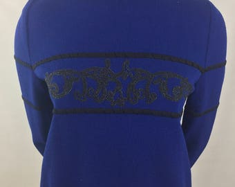 Vintage St. John Collection by Marie Gray Royal Blue Sweater with Black Design/Size Small