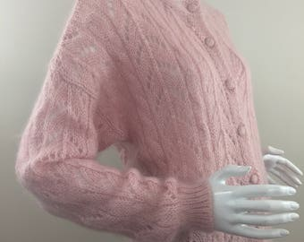 Vintage Cape Isle Knitters Pink Mohair Cardigan Sweater with See Through Knit /Size XL