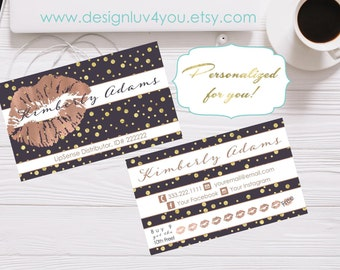 Rose Gold & Grey LipSense Business Card | Lipsense Distributor | Make up Card | LipSense Printable Business Card | 3.5x2 *DIGITAL FILE ONLY*