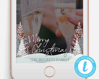Christmas Snapchat Filter, Christmas Snapchat Geofilter, Editable Snapchat Filter, Merry Christmas Geofilter, Winter Geofilter