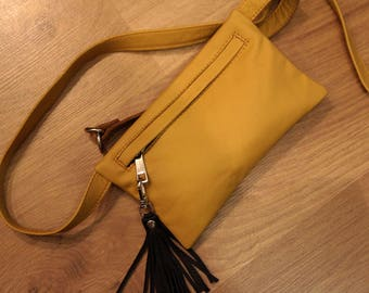 Leather Waist Bag, Leather Fanny Pack, Fanny Pack Leather, Hip Bag, Leather Pouch, Belt bag, Yellow Fanny Pack, Leather Woman Bag -  9