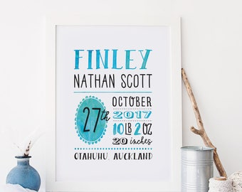 Baby Boy Birth Announcement Wall Art, Personalized Baby Gift, Birth Stats Print, Blue Custom Nursery Art, Boy Nursery Decor, New Baby Gift