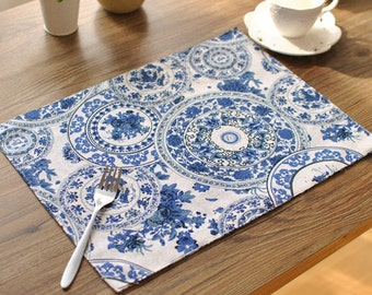 Set of 2 Beautiful Blue Floral Print Quilted Placemats Perfect for Dining Table