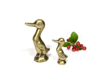 Vintage brass duck figurine, Brass figurines, Brass duck, A pair of brass figurines, Brass figurine, Brass Animals