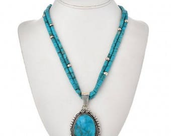 Vintage Turquoise Hammered Silver Pendant Native American Necklace