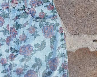 Vintage Floral High Waisted Denim Knee Length Skirt Size 8