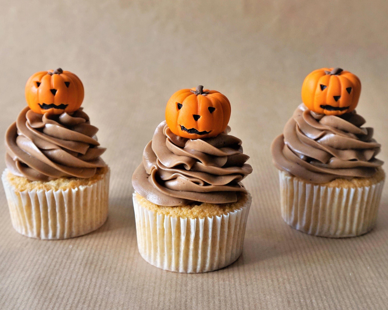 Thanksgiving cupcake decorations - 12 Fondant Carved Pumpkin Cupcake Toppers Fondant Halloween Topper Jackolantern Custom Topper Pumpkin