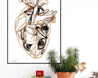 LOVE. Wall art. Art print. High quality giclée print. Signed by designer. Illustration. A2
