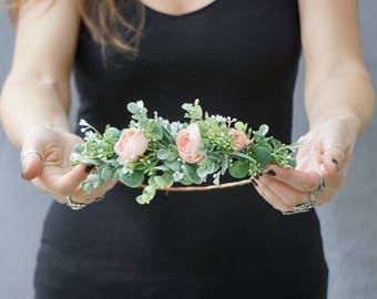 Flower crown wedding, blush bridal flower crown, bridal half crown, half flower crown, greenery crown, bridal headpiece
