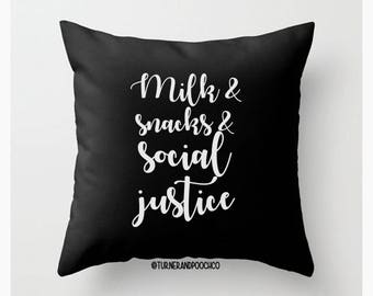 Decorative Throw Pillow, Cover Insert, Feminist, Solid Black, Resist, Feminism, Protest, Nursery Decor, Milk Snacks Social Justice, baby