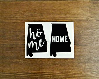 Alabama State Home Vinyl Decal // Choose Your Color, Size, and Style