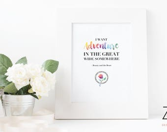 Beauty and the Beast Quote Print - Adventure