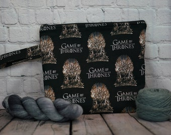 Game of Thrones Large Project bag, Knitting project bag, Crochet project bag,  Zipper Project Bag, Yarn bowl, Yarn tote