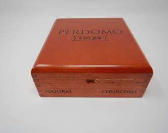 Wooden Cigar Box, Perdomo, Lot 23, Natural Churchill, Brown Cigar Box