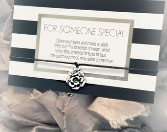 Wish Bracelet, Flower charm, friendship bracelet