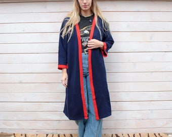Vintage Red & Blue Embroidered Kimono Jacket