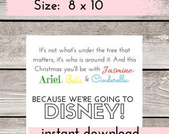 Disney Surprise, Disney Card Printable, Disney Trip Reveal, Disney Countdown, Surprise Disney Trip, Surprise Vacation, Let's go to Disney!
