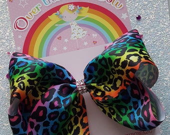 Leopard print multi-coloured bow, big bow, boutique bow