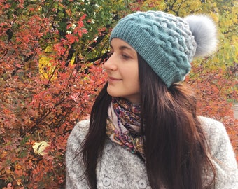 Pom pom hat slouch beanie hat Cable knit hat wool chunky hat gray winter knittting hat slouch hat knit beanie oversized hat woman beanie hat