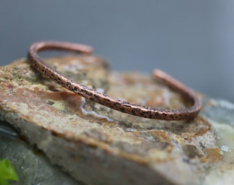 Men's Minimal Hammered Copper Cuff Bracelet