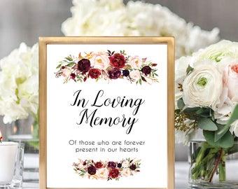 In Loving Memory Sign, In Memorial Table Sign, Memorial Sign Printable, Remembrance Sign, In Loving Memory Printable, Floral Wedding, #D021