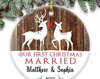 Our First Christmas Married - Deer - Personalized Christmas Couple's Round Ceramic Ornament- Personalized with Names & Year Married Ornament