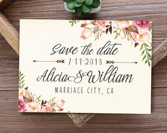 Boho Save the Date, Save the date template, Printable Save the Date Card,  Floral Save the Date Card Printable - US_WO0702
