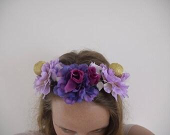 Purple and Golden Fairy Flowercrown - Handmade