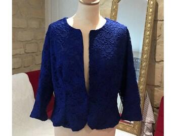 Jacket in blue lace evening dress custom