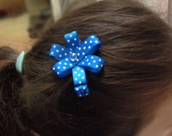 Handmade girl Ribbon blue polka dots - girl hair clip hair Barrette