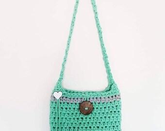 Mint & grey crochet handbag