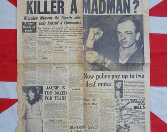 Lee Harvey Oswald. Headline News Sheet  November 1963 British Newspaper Headline