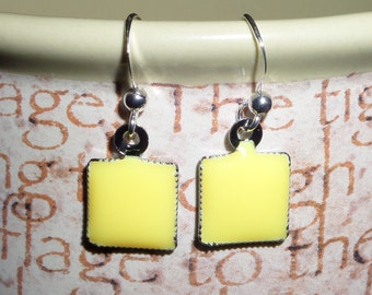 Yellow and Silver Dangle Earrings, Casual, Every Day Wear