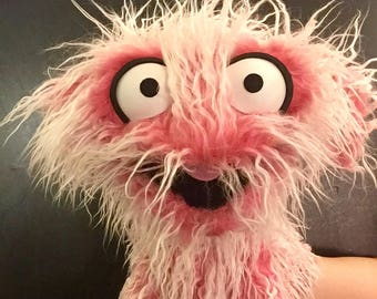 Furry Pink & White Monster Hand and Rod Puppet