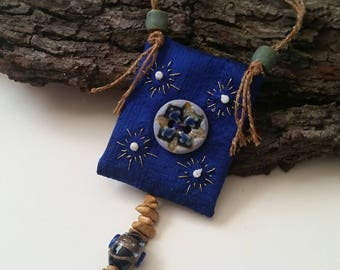 Blue fiber art necklace - Hand embroidered necklace - Beaded necklace - Button jewelry - Wearable art necklace - Textile jewelry