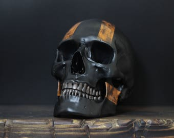 Harley D - Matte Black Full Scale Life Size Realistic Faux Human Skull Replica with Orange Racing Stripes + Distressed Detailing