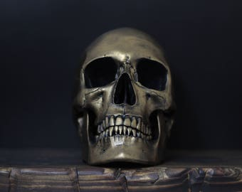 The Golden One - Distressed Gold Full Scale Life Size Realistic Faux Human Painted Skull Replica with Removable Jaw / Art / Ornament / Decor