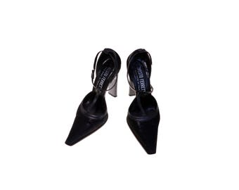 Vintage Female Shoes Costume Footwear ERNESTO FERRETTI US5 EU36 Narrow Toe Black Leather Suede Heel 1990-s