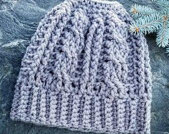 Crochet Messy Bun Beanie / Hat, ponytail hat, handmade messy bun hat, handmade ponytail hat, FREE SHIPPING