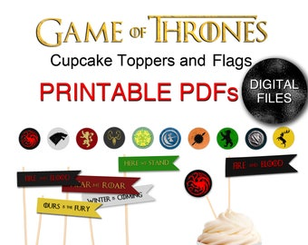PRINTABLE Game of Thrones Cupcake Flags and Toppers - Party Printable Digital Files